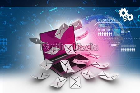 e mail konzept moderne laptop und