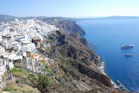 santorini thira eselweg cycladic island cliffs