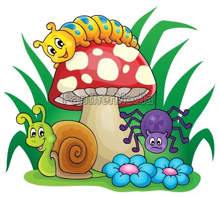 giftpilz mit kleinen tieren