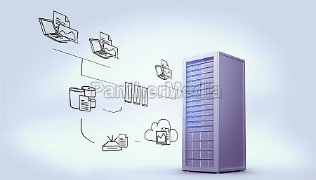 zusammengesetztes bild des datenverarbeitungsgekritzels der wolke