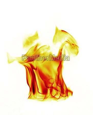 feuer flammen auf weissem hintergrund