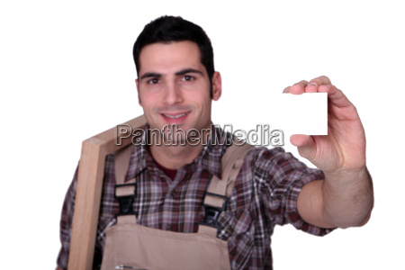 carpenter with a business card left