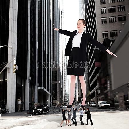 composite bild von business team unterstuetzung