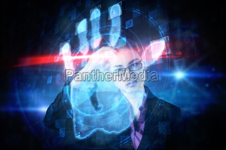 composite image of businesswoman thinking