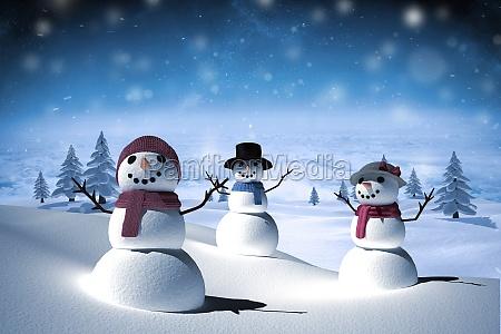 zusammengesetztes bild der schneefamilie