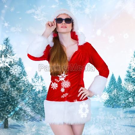 composite bild von coolem santa girl