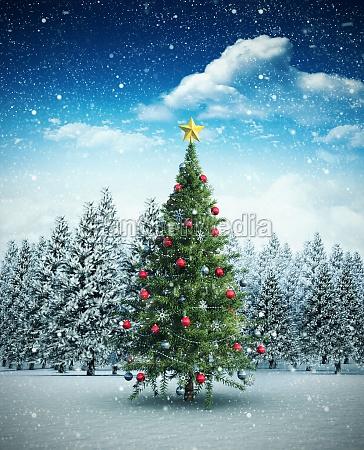 composite bild von weihnachtsbaum