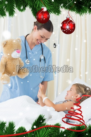 spielerischer doktor der krankes maedchen unterhaelt