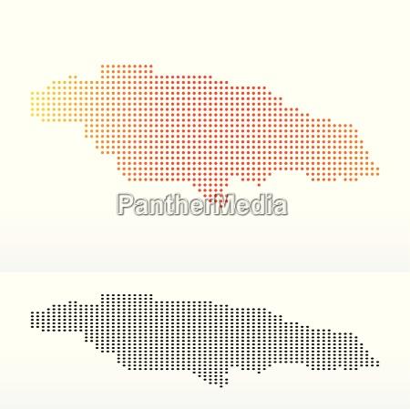 karte von jamaika mit punkt muster