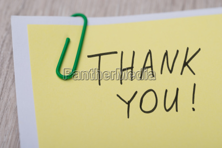 thank you written on yellow