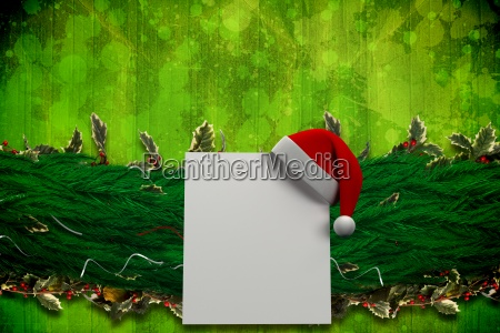 composite bild von tannenzweig weihnachtsdekoration girlande