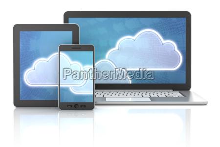 cloud symbole auf gadgets