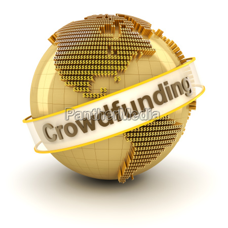 crowdfunding symbol mit globus durch dollar