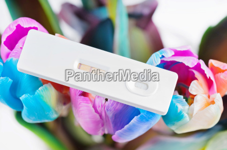 closeup of pregnancy test and multicolored