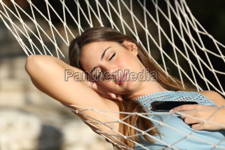 woman sleeping and resting on a