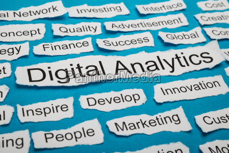 word digital analytics on piece of
