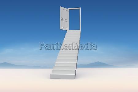 composite bild von treppen zu tuer