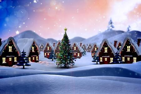 zusammengesetztes bild des netten weihnachtsdorfes