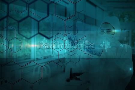 composite bild von chemiker im schutzanzug