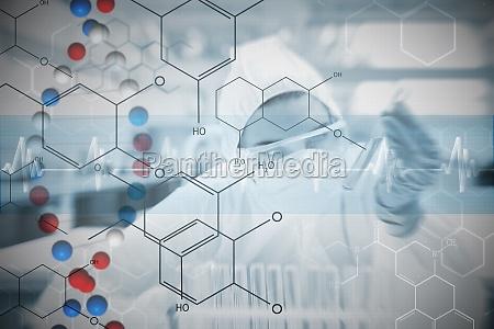 composite bild von chemiker vorsichtig mit