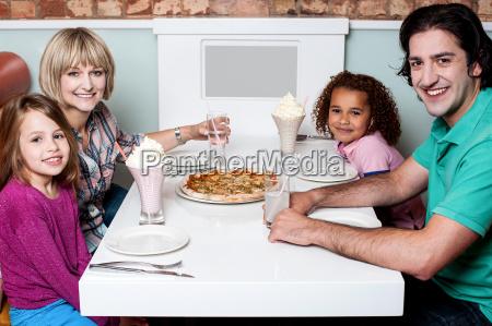 happy family enjoying dinner