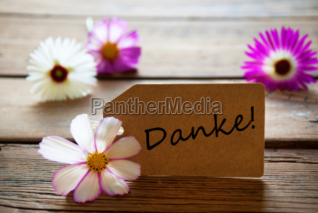 label with german text danke with