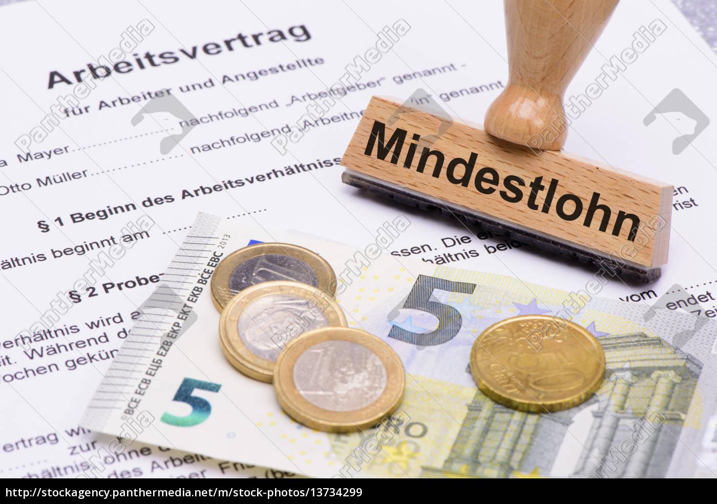 Mindestlohn 8,50 Euro und Arbeitsvertrag - Lizenzfreies Bild ...