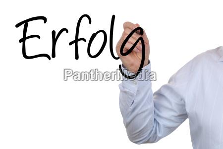 businessman beim schreiben von business erfolg