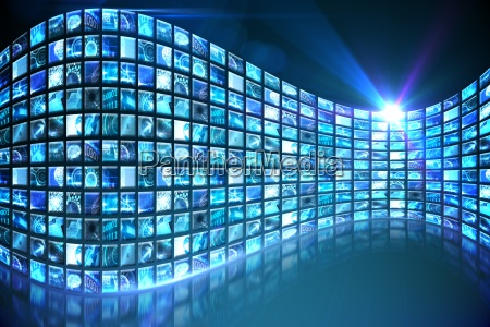 kurve der digitalen bildschirme in blau