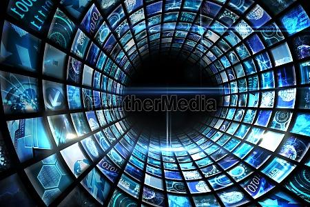 wirbel der digitalen bildschirme in blau