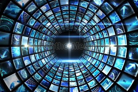 vortex von digitalen bildschirmen in blau