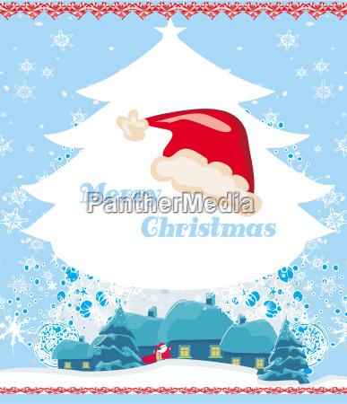 weihnachten und neujahr grusskarte weihnachtsmann mit