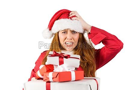 festliche betonte redhead holding geschenke