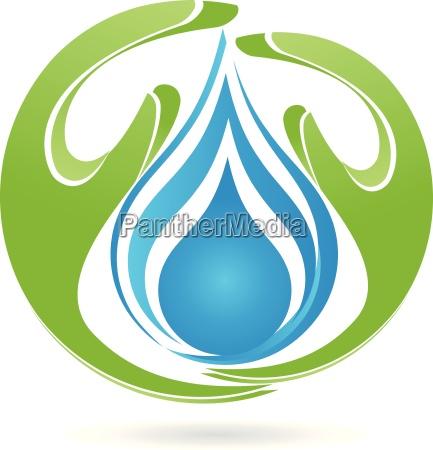 logo haende tropfen wasser