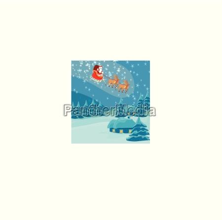 frohes neues jahr karte mit weihnachtsmann
