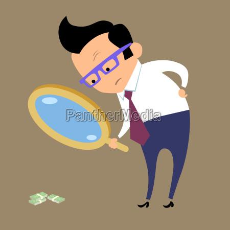 geschaeftsmann sucht geld in lupe