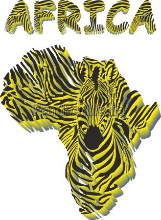 silhouette karte von afrika mit dem