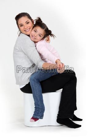 little girl sat on mother
