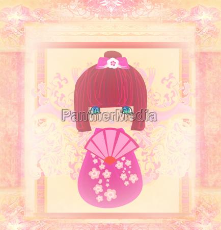 kokeshi puppe cartoon charakter schoene abstrakte