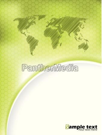 green hexagon brochure design with scribbled