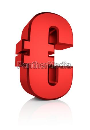 3d rotes eurozeichen