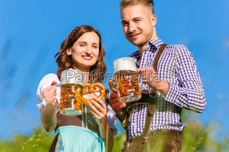 german couple in traditional costume with