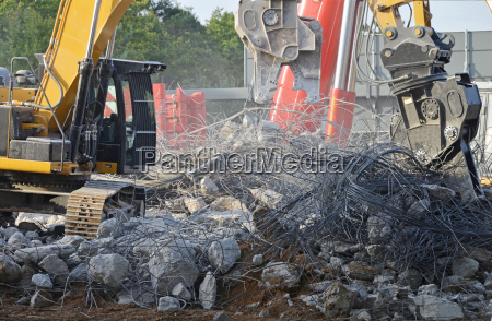 bridge demolition on highway