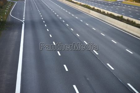 empty swept eight lane highway