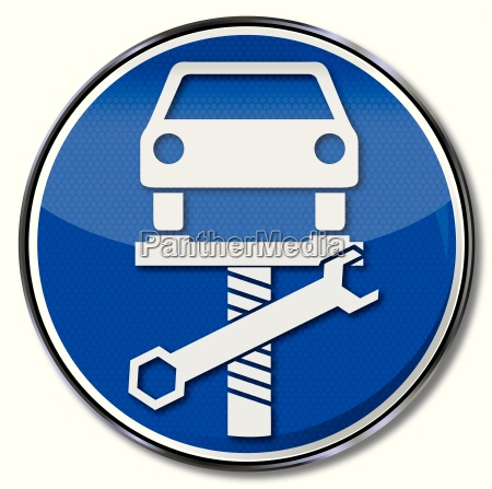 sign with car on lift