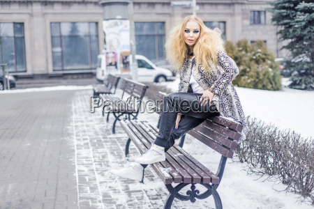 woman on a bench in the