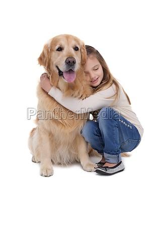 glückliche, mädchen, mit, ihrem, hund - 13794611