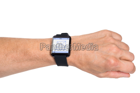 hand wearing smartwatch showing new message