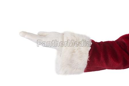 weihnachtsmann zeigt offene hand