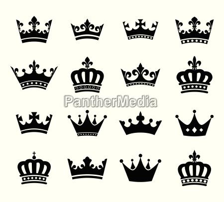 sammlung von krone silhouette symbole vol2